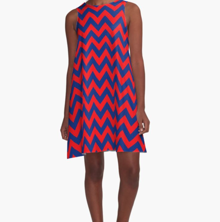The most beautiful dress in the grove! Check out this red and blue chevron dress, inspired by the Rebels! #OleMiss #HottyToddy #Rebs #gameday #dress #college #football