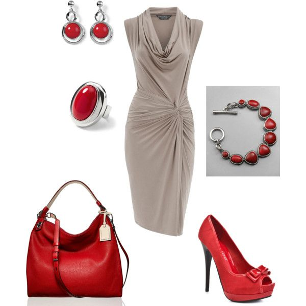 Red and Beige Happy Anniversary Apperal, created by wcatterton on Polyvore