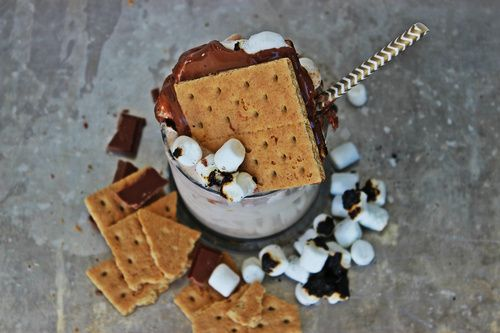 Everyone's favorite campfire treat reincarnated into a bourbon-y beverage. If you're a fan of s'mores then you'll be sure to love this week's Cocktail of the Week, as our friend Natalie (BeautifulBooze.com) shares her recipe for a S'mores Bourbon Milkshake!