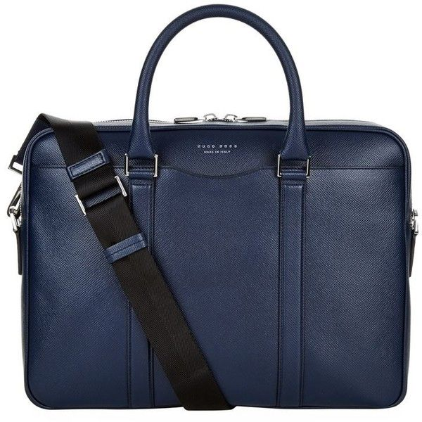 BOSS Grained Leather Briefcase (57.210 RUB) ❤ liked on Polyvore featuring men's fashion, men's bags, men's briefcases and boss hugo boss