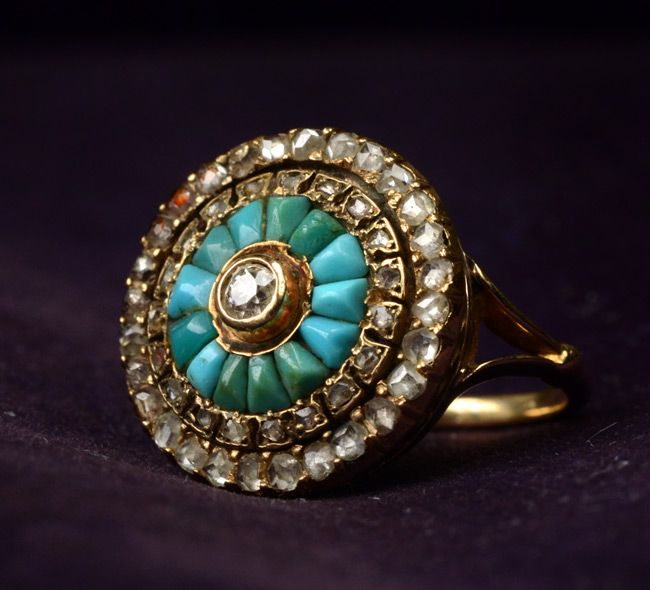 Late 1800s Turquoise & Rose Cut Diamond Cluster Ring