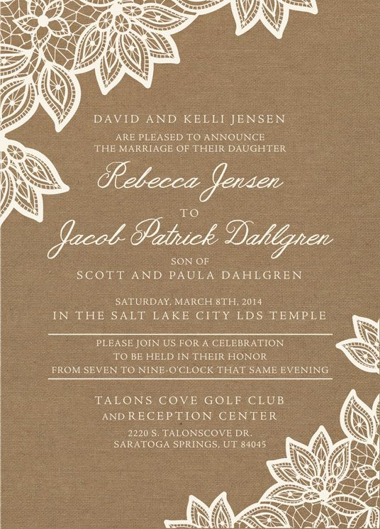 Becca Front Burlap Wedding Invitationswedding Invitation