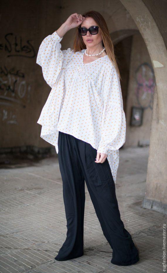Купить Белая блузка в горошек T000183 - белый, в горошек, блузка, блузка женская, блузка в горошек