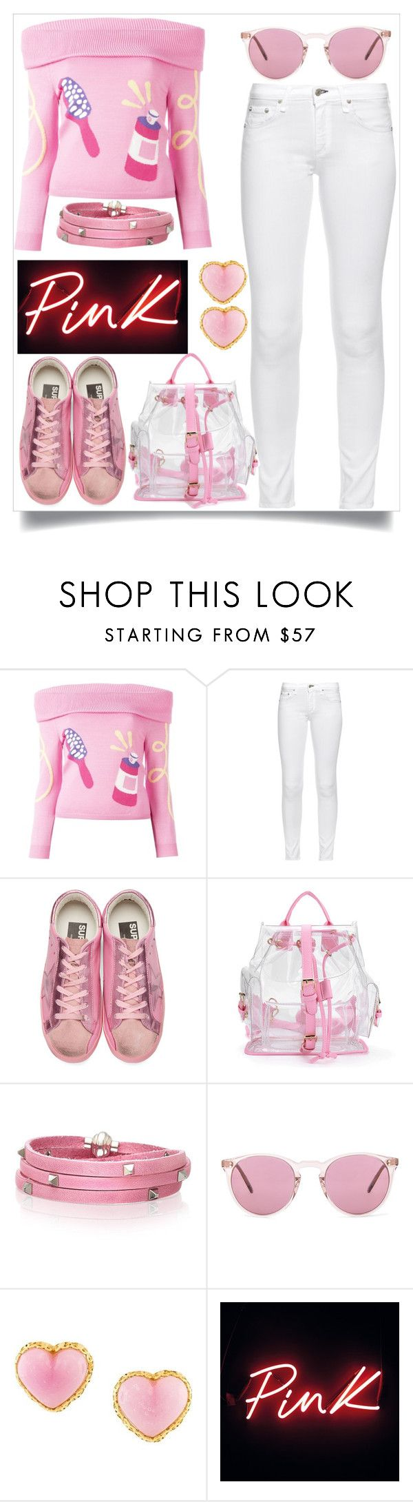 """""""Pink Winter Outfit"""" by tlb0318 ❤ liked on Polyvore featuring Jeremy Scott, rag & bone, Golden Goose, Sif Jakobs Jewellery, Oliver Peoples and Chanel"""