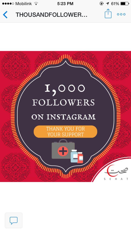 1000 followers on instagram! #instagram #1000followers #sehatpk #onlinepharmacy