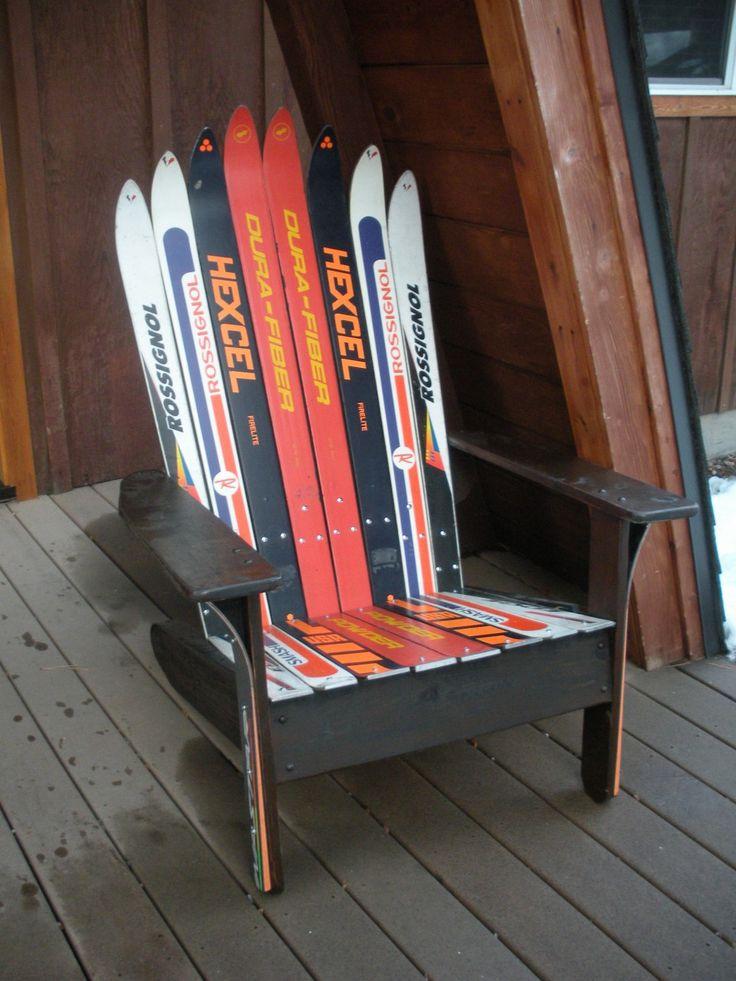 Adirondack Style ski chair using Vintage 60's skis. Onyx wood stain.