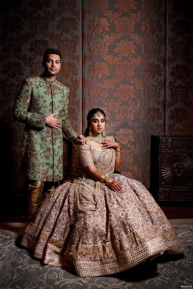 Stunning Gorgeous Chennai Engagement With A Bride In Custom Outfits Couple Wedding Dress Couple Outfits Indian Wedding Outfits