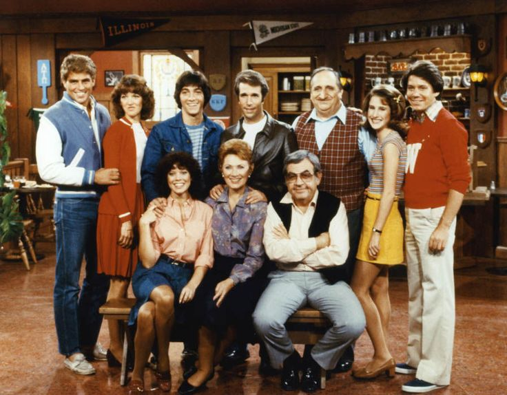 'Happy Days' cast with Ted McGinley, Lynda Goodfriend, Scott Baio, Henry Winkler, Al Molinaro, Cathy Silvers, Anson Williams Erin Moran, Marion Ross and Tom Bosley