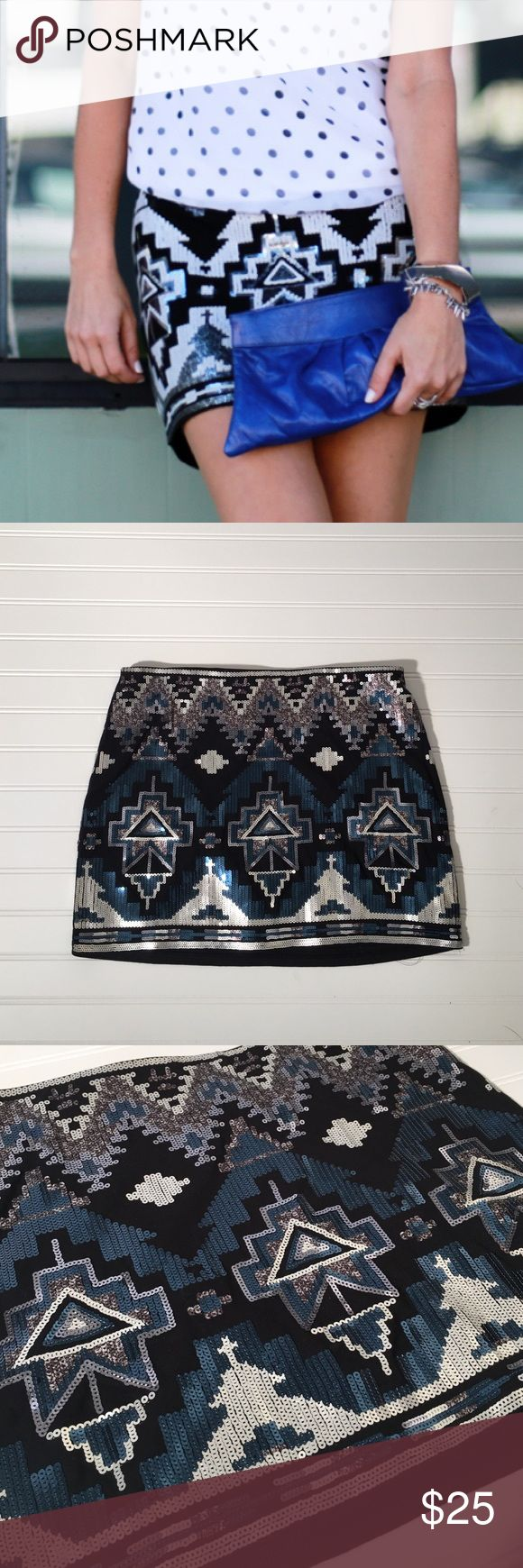 Express Aztec Sequin Skirt Express Aztec Sequin Skirt, blue, black and silver, sequins in great condition, only been worn once. Express Skirts Mini