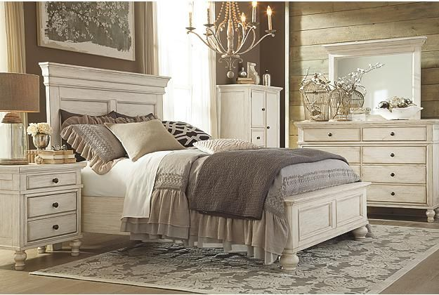 cottage white panel headboard and footboard coupled with matching dressers and nightstands View 4