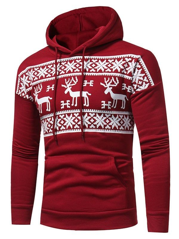 Fleece Snow and Reindeer Print Pullover Hoodie   Kleidung ed04f46758