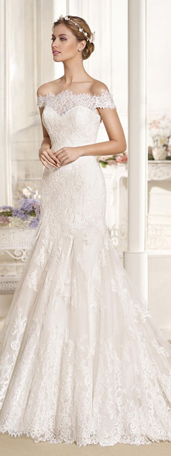 Glamorous Tulle & Satin Off-the-shoulder Neckline Mermaid Wedding Dresses With Lace Appliques