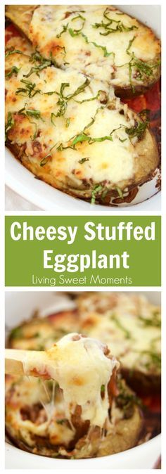 This delicious Cheesy Stuffed Eggplant Recipe is easy to make, vegetarian and very cheesy. Healthy for dinner. The eggplant is roasted for extra flavor. Perfect as a side dish. More on livingsweetmoments.com