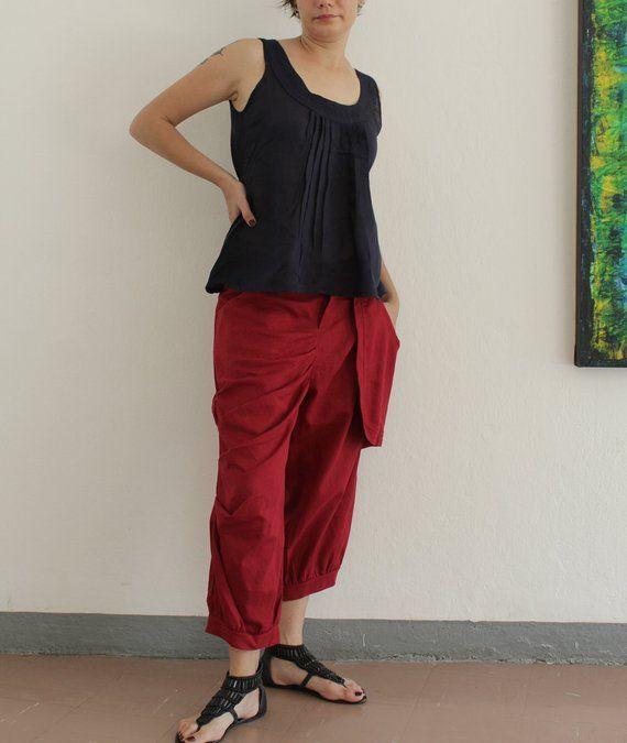 Funky pants Linen uneven leg long pants capri pants elegant pants linen  black brown blue gray purple cc196b7f5b1