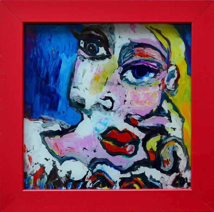 Портрет в стиле Пикассо  стекло, м. 14х14 6 т.р.
