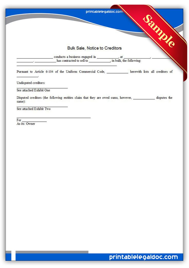 Free Printable Bulk Sale, Notice To Creditors | Sample Printable Legal Forms