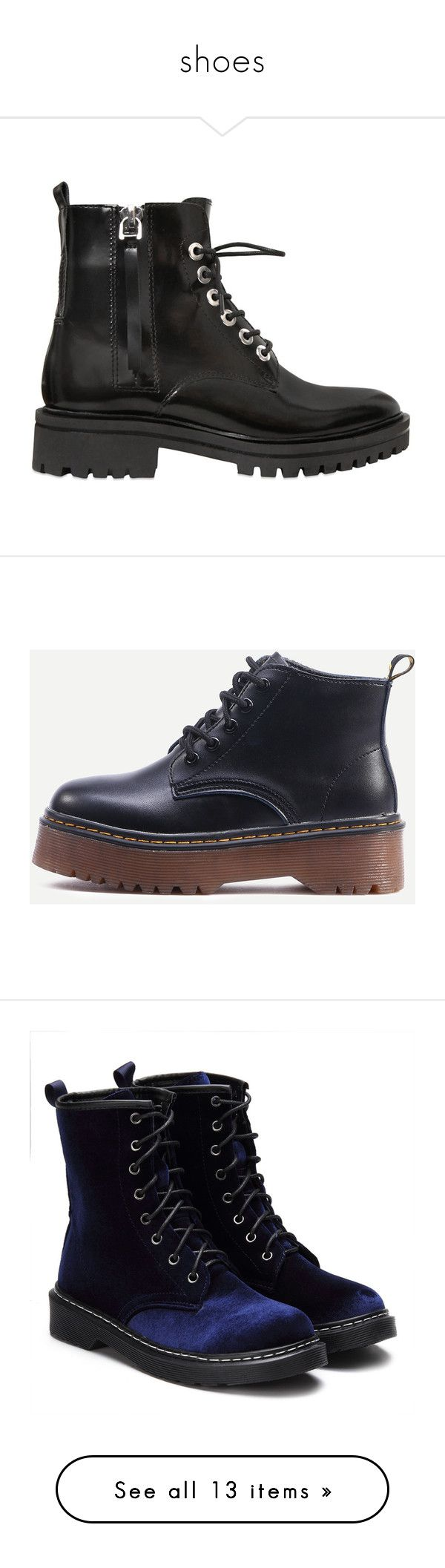 """""""shoes"""" by angela-grozdanov on Polyvore featuring shoes, boots, botas, shoes - boots, black, polishing boots, black rubber shoes, rubber shoes, black leather lace up boots and shiny black shoes"""