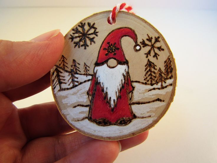 Santa Pyrography wood slice christmas decoration. can be personalised
