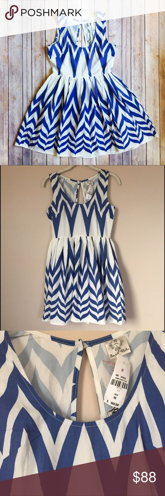 """LF Angel Biba Chevron Dress LF Angel Biba Chevron Dress. Super cute LF dress with white/blue chevron design. Sleeveless with tulle petticoat. Very feminine and timeless. NWT, 🇦🇺 size 10, 🇺🇸 US 6/M. Flat measurements (approx): 32.5""""L (shoulder to bottom) x 34""""W (armpit to armpit) x 27""""W (empire waist).   ⭐️ Bundle & Save, Posh Rules Only ⭐️ All Offers Accepted or Countered LF Dresses Mini"""