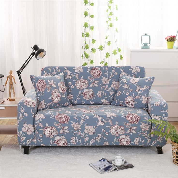 24-46USD Light blue flowers printing universal stretch sofa covers for living room multi- : sectional couch covers cheap - Sectionals, Sofas & Couches
