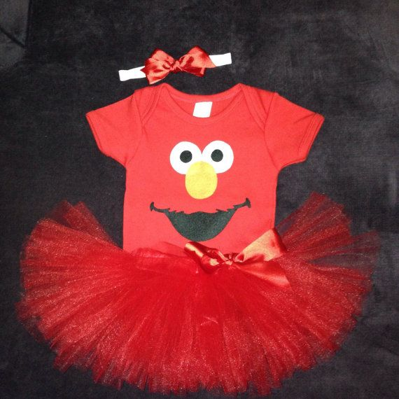 Baby Elmo Costume with body suit tutu and hairbow by KidarooToo