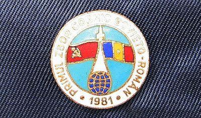 """COCKTAILVINTAGEBAZAAR: Insigna """"Primul zbor cosmic sovieto-roman 1981"""" #insigne #badges #zborcosmic #spaceflight #Romania #USSR #Russia"""