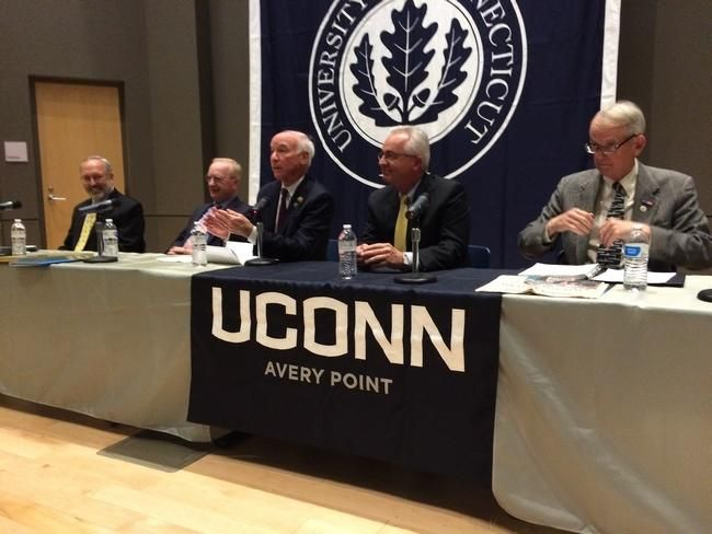 Groton Town Manager Mark Oefinger, Chamber of Commerce of Eastern Connecticut President Tony Sheridan, U.S. Rep. Joe Courtney, Robert Ross and Stonington First Selectman Rob Simmons were part of a panel that discussed the Base Closure and Realignment Commission efforts to close Naval Submarine Base New London in 2005 Wednesday at the UConn Avery Point campus. Ryan Blessing/NorwichBulletin.com