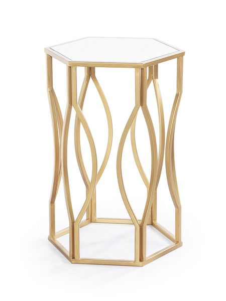 Macchio End Table in Champagne Stainless Finish with Mirrored top   Cornerstone Home Interiors