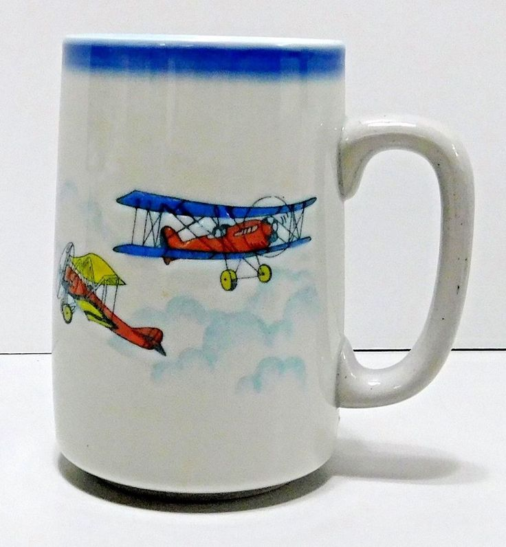 Bi-planes Tall Coffee Mug Cup Clouds Incised Ceramic Large Handle Collectible