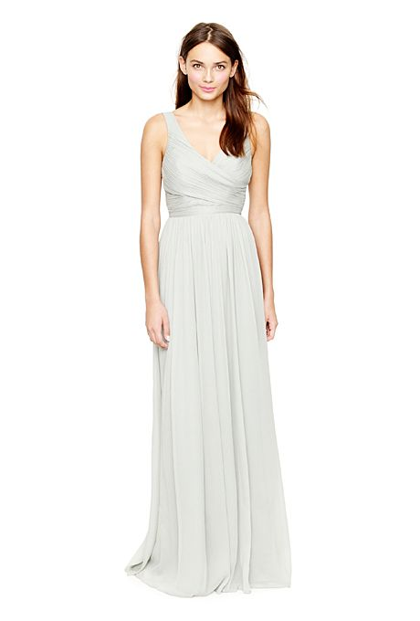 "Brides.com: . Chiffon Bridesmaid Dress: J. Crew. ""Heidi"" silk chiffon V-neck floor-length dress, $365, J. Crew  See more J. Crew bridesmaid dresses."