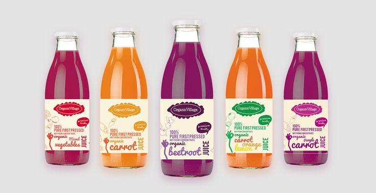 #organic #village #logo #design #packaging #premium #carrot #orange #beetroot #pure #vegetables #mixed #pressed  #juice #ateliernesenogay