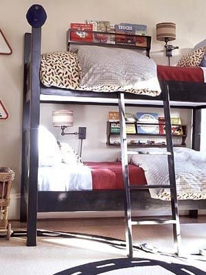 Bedrooms Just for Boys. Book racks for bunk beds- boys' room.