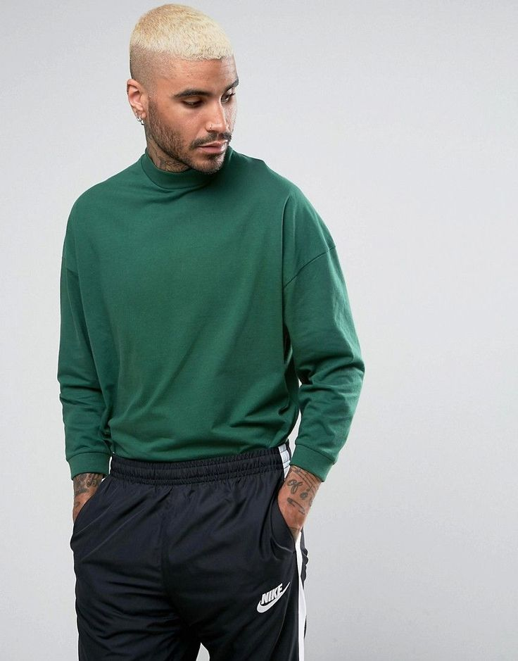 ASOS Oversized T-Shirt With High Neck And Cropped Arm In Green - Green