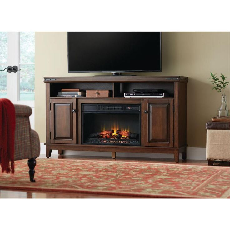 Home Decorators Collection Benadretti 61 In Media Console Electric Fireplace In Brown With
