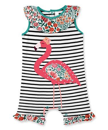 6d814bd9cbea This Black Stripe Flamingo Ruffle Romper - Infant & Toddler is perfect!  #zulilyfinds