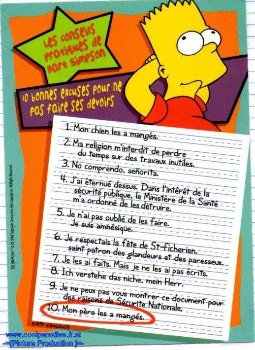 """les """"10 bonnes excuses pour ne pas faire ses devoirs"""" de Bart Simpson"""