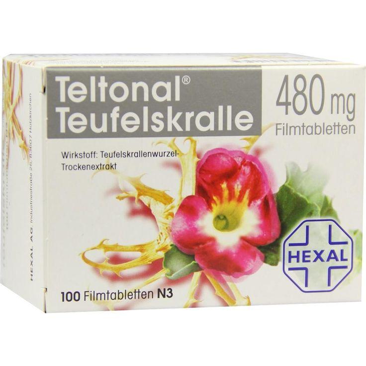 TELTONAL Teufelskralle 480 mg Filmtabletten:   Packungsinhalt: 100 St Filmtabletten PZN: 06104605 Hersteller: Hexal AG Preis: 17,23 EUR…