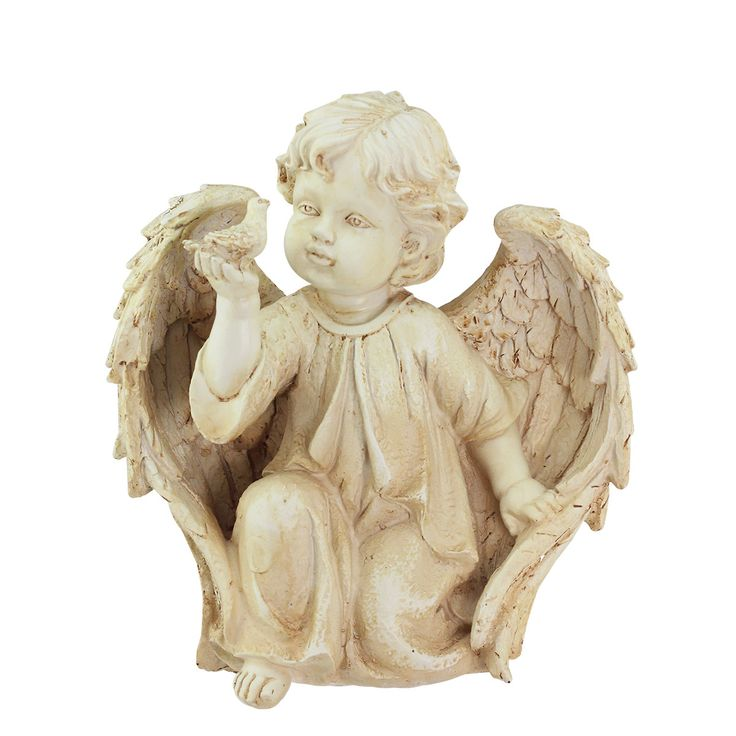Awesome Heavenly Gardens Cherub Angel On Bended Knee With Dove Outdoor Patio Garden  Statue