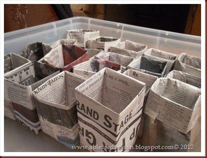 Planting Seeds.Newspaper pots...