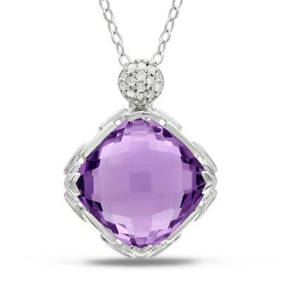 Zales Oval Amethyst and Diamond Accent Cushion-Shaped Pendant in Sterling Silver cyIGgS2h