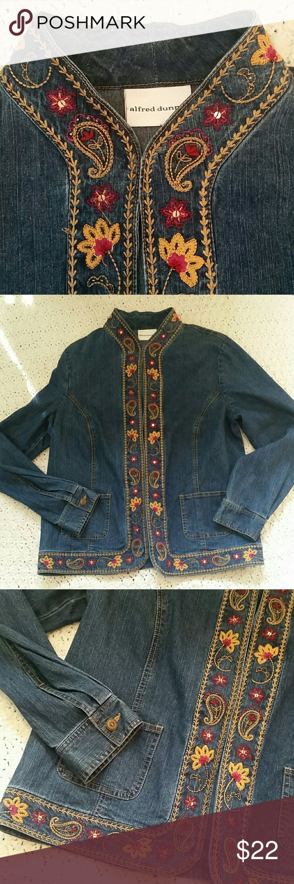 """Alfred Dunner Ladies Denim Jacket This is a pretty long sleeve, darker denim open front jacket with floral embroidery and sequin trim. Trim is burgundy and gold. Jacket has 2 front pockets. Size 10, EUC,  length is 25 1/4"""", armpit to armpit is 21 1/2"""", sleeve length is 24 1/2"""". Smoke Free Home Alfred Dunner Jackets & Coats Jean Jackets"""