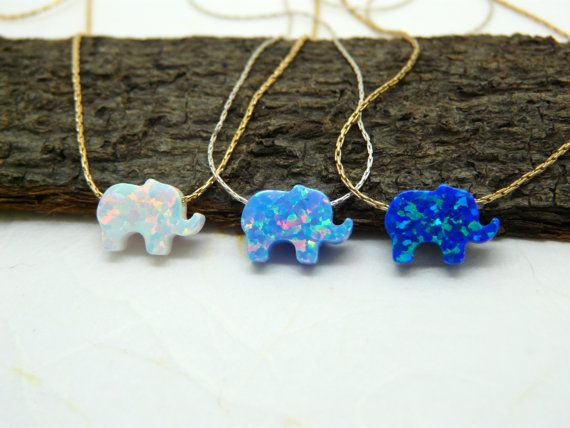 Elefant-Collier Opal Elefant Halskette von OpaLand auf Etsy