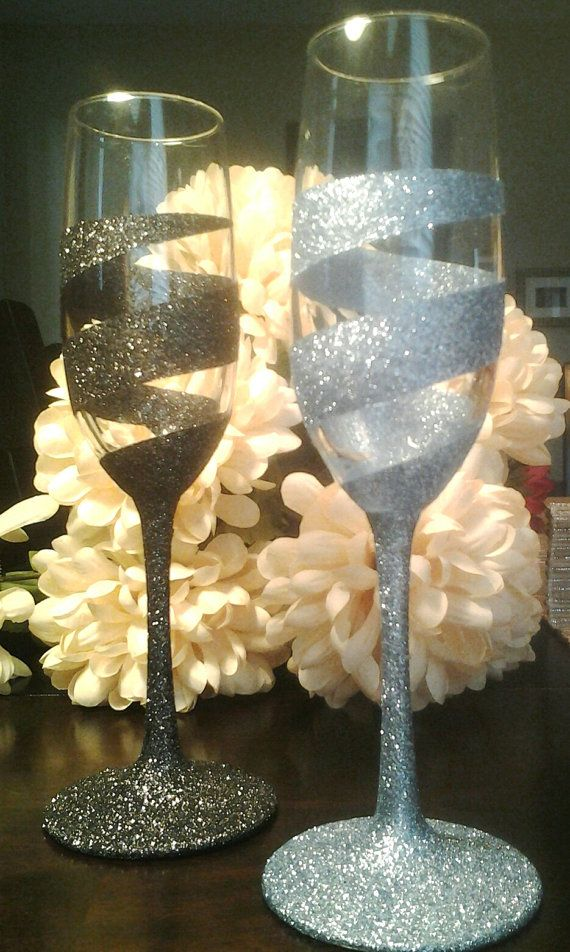 Custom Swirl Champagne Flutes by ClassiGlass on Etsy                                                                                                                                                      More