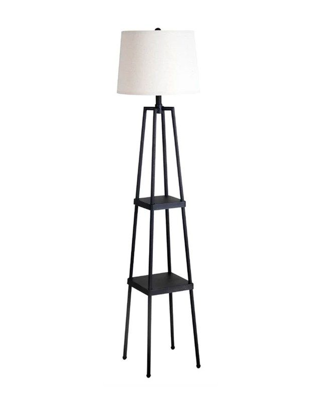 10 Floor Lamps With Tables Attached That Don T Look Like Your Grandma S Floor Lamp With Shelves Floor Lamp Floor Lamp Makeover