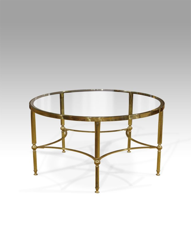 Century Circular Brass And Glass Coffee Table.