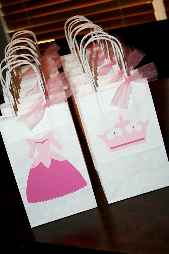Party favor bags for a Prince  Princess party
