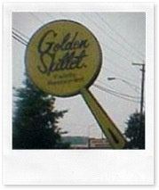 Giant 'pan' sign for Golden Skillet -   Golden Skillet began in Richmond in 1964 and their first fried chicken was served in downtown Thalhimer's. Clifton Guthrie developed the recipe.  The chicken was featured in Women's Wear Daily. The first free standing location opened in 1968  with the signature yellow roof & giant pan-shaped sign. By 1981, there were over 220 stores & had gone international.  Roy Clark, a native of Virginia, was hired to be the pitchman for the company in its…