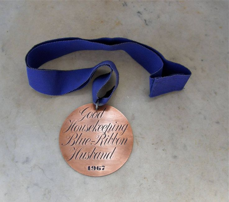 GOOD HOUSEKEEPING HUSBAND Copper Round Blue Ribbon Award Medal Royal Purple Ribbon English Father's Day Anniversary Gift 1967 Unusual Quirky by OnceUpnTym on Etsy