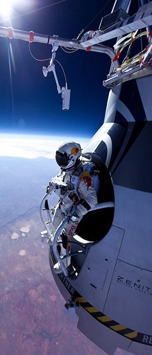 Felix Baumgartner's sky dive from the edge of space.