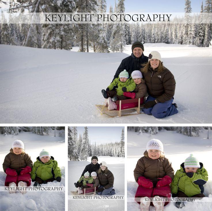 winter sledding family photo